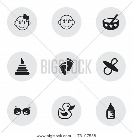 Set Of 9 Editable Infant Icons. Includes Symbols Such As Cheerful Child, Twins Babies, Nursing Bottle And More. Can Be Used For Web, Mobile, UI And Infographic Design.