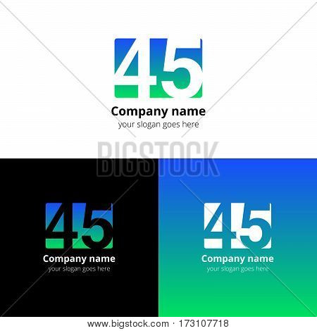 45 logo icon flat and vector design template. Monogram years numbers four and five. Logotype forty-five with blue-green gradient color. Creative vision concept logo, elements, sign, symbol for card,