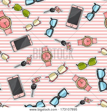 Collection of women accessories. Pink cellphones. Sunglasses with different glassworks. Watches with belts. Keys with fob. Endless texture. Seamless pattern. Striped background. Fabric. Vector