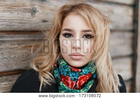 Portrait Of A Beautiful Young Woman With Blond Hair