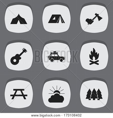 Set Of 9 Editable Travel Icons. Includes Symbols Such As Voyage Car, Sunrise, Fever And More. Can Be Used For Web, Mobile, UI And Infographic Design.
