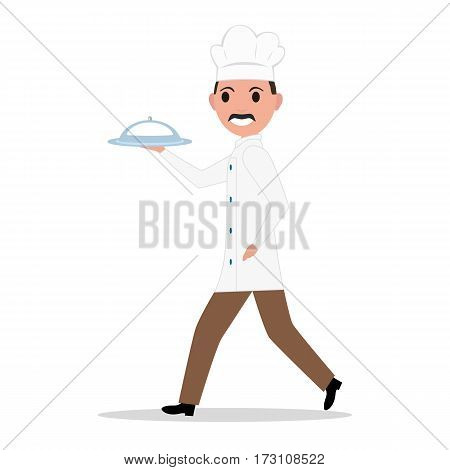 Vector illustration cartoon funny chef cook man. Isolated white background. Male chef in a restaurant with a tray, dish. Flat style. Side view, profile.