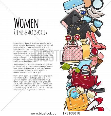 Women items and accessories web banner. Colourful objects. Cosmetics. Perfume, lipstick, mascara, perfume, purse, handbag, high-heeled shoes, eyeshadows brush watch sunglasses Add text Vector