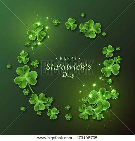 St. Patrick's Day background. Holiday design with leaves and glowing lights. Vector illustration.