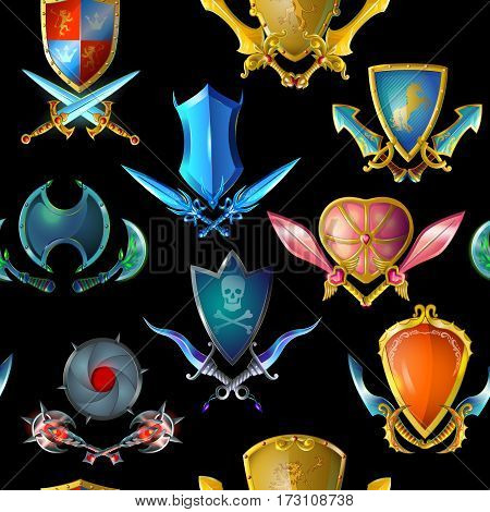 Medieval arms seamless pattern with colorful weapons and shields for game design on dark background vector illustration