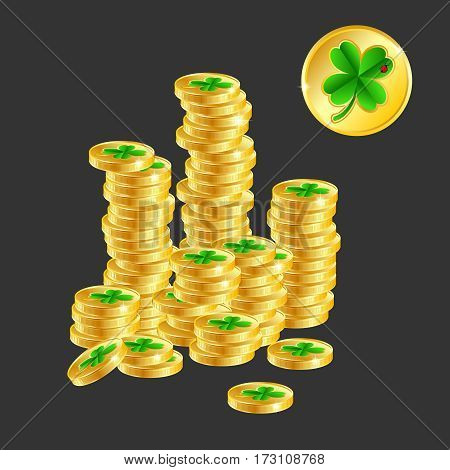 Good luck money. A pile of gold coins with a good luck clover symbol. St. Patricks Day symbol of Ireland.Money a symbol of success and luck a vector an illustration on black background