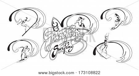 Summer active leisure concept with surfers and calligraphic lettering in monochrome style isolated vector illustration