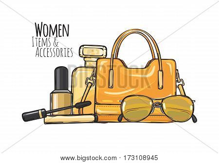 Women items and accessories. Illustration of yellow purse, mascara, perfume, sunglasses, beige nail polish. Fashionable female objects on yellow. Poster. Cartoon style. Banner. Flat design Vector