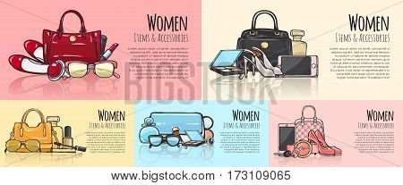 Women items and accessories. Set of Illustrations. Purses, phones, high-heeled shoes, round watch with belt, car key, mascara, perfumes, eyeshadows. Fashionable female objects. Cartoon style Vector