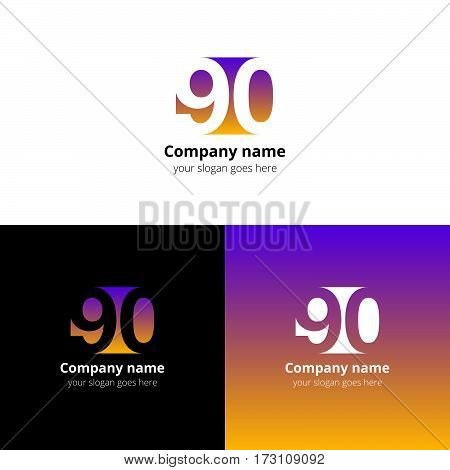 90 logo icon flat and vector design template. Monogram years numbers nine and zero. Logotype ninety with pink-yellow gradient color. Creative vision concept logo, elements, sign, symbol for card,