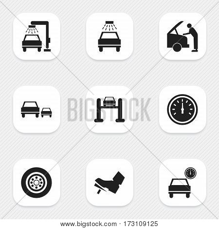Set Of 9 Editable Traffic Icons. Includes Symbols Such As Auto Service, Automobile, Tire And More. Can Be Used For Web, Mobile, UI And Infographic Design.