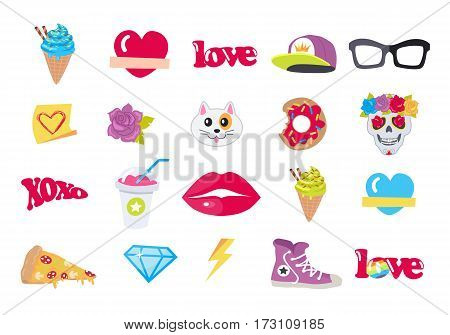 Icons set cap, sport footwear, pizza, bitten doughnut, muzzle of cat, human skull with flower, lips, glasses, ice cream, love, cocktail, thunder sign, sticker diamond brilliant hashtag Vector set