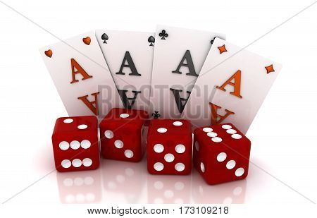 Gambling, four cards and four cubes. 3D render