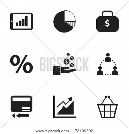 Set Of 9 Editable Logical Icons. Includes Symbols Such As Money Bag, Circle Diagram, Bar Chart And More. Can Be Used For Web, Mobile, UI And Infographic Design.