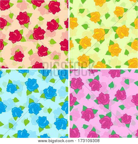 Rose with green leaves seamless pattern set. Isolated big purple red blue yellow blossoms in cartoon style walllpaper, wrapping paper. Fashion decoration endless texture. Floral embellishment. Vector