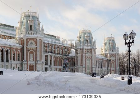 Moscow, Russia - January 18, 2017: Grand Palace at the museum-reserve Tsaritsyno in Moscow