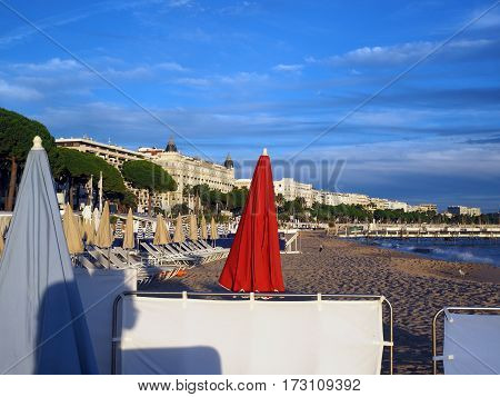 beach and famous hotels along The Promenade de la Croisette Cannes France the French Riviera