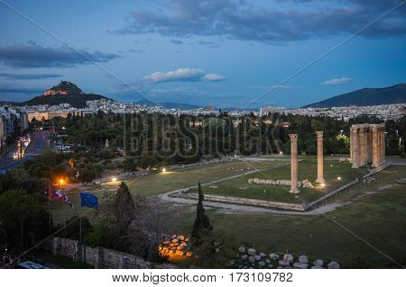 Scenic View To Athens From The Roofs