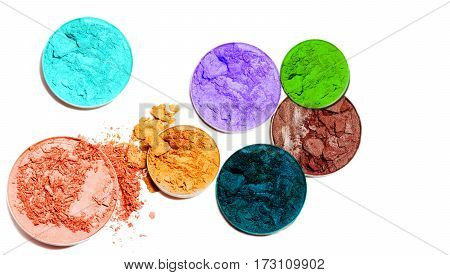 Multicolor eye shadow isolated on white background.