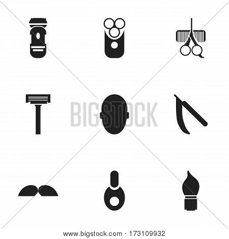 Set Of 9 Editable Tonsorial Artist Icons. Includes Symbols Such As Shaver, Blade, Hairdresser Set And More. Can Be Used For Web, Mobile, UI And Infographic Design.