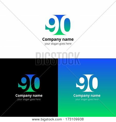 90 logo icon flat and vector design template. Monogram years numbers nine and zero. Logotype ninety with blue-green gradient color. Creative vision concept logo, elements, sign, symbol for card,