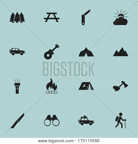 Set Of 16 Editable Trip Icons. Includes Symbols Such As Gait, Musical Instrument, Blaze And More. Can Be Used For Web, Mobile, UI And Infographic Design.