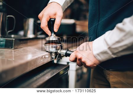 Barista Using Coffee Machine Preparing Fresh Coffee With Latte Foam At Coffee Shop And Restaurant, B