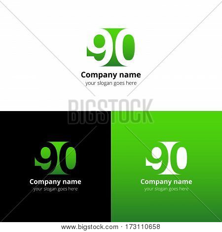 90 logo icon flat and vector design template. Monogram years numbers nine and zero. Logotype ninety with light green gradient color. Creative vision concept logo, elements, sign, symbol for card,
