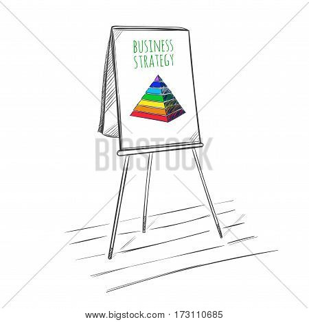 Infographic business presentation sketch template with colored pyramid on flipchart on white background isolated vector illustration