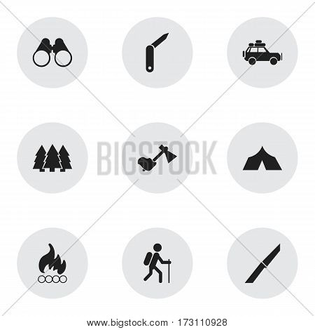 Set Of 9 Editable Travel Icons. Includes Symbols Such As Blaze, Clasp-Knife, Field Glasses And More. Can Be Used For Web, Mobile, UI And Infographic Design.