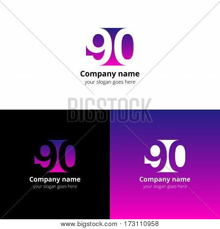90 logo icon flat and vector design template. Monogram years numbers nine and zero. Logotype ninety with purple-pink gradient color. Creative vision concept logo, elements, sign, symbol for card,