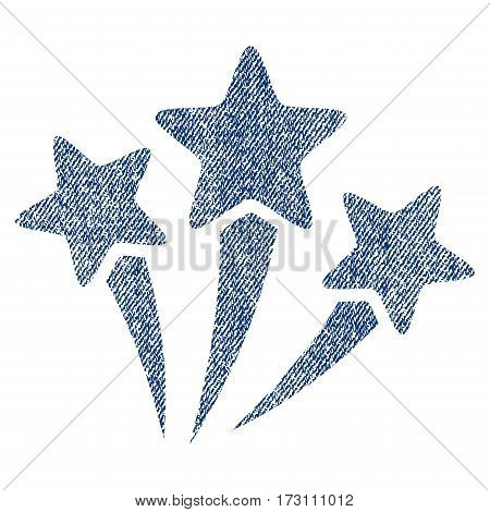 Star Fireworks vector textured icon for overlay watermark stamps. Blue jeans fabric vectorized texture. Symbol with unclean design. Blue ink rubber seal stamp with fiber textile structure.