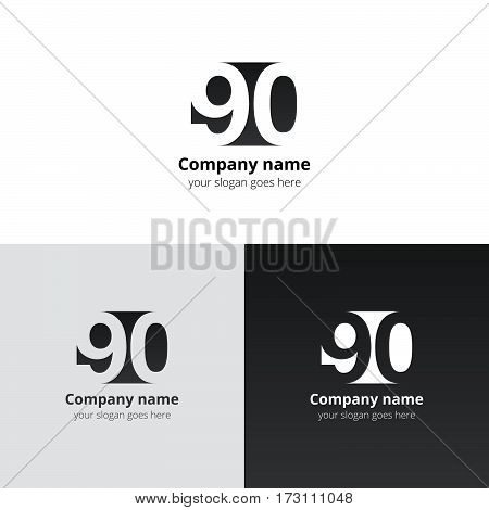 90 logo icon flat and vector design template. Monogram years numbers nine and zero. Logotype ninety with black grey gradient color. Creative vision concept logo, elements, sign, symbol for card,