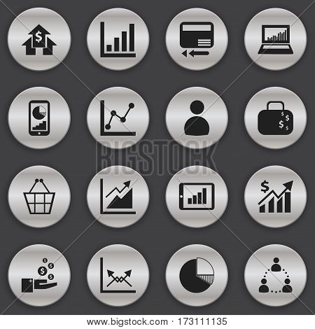 Set Of 16 Editable Analytics Icons. Includes Symbols Such As Circle Diagram, Cash Briefcase, Credit Card And More. Can Be Used For Web, Mobile, UI And Infographic Design.