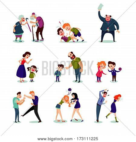 Angry male and female people set of different ages fighting and quarelling on white background isolated vector illustration