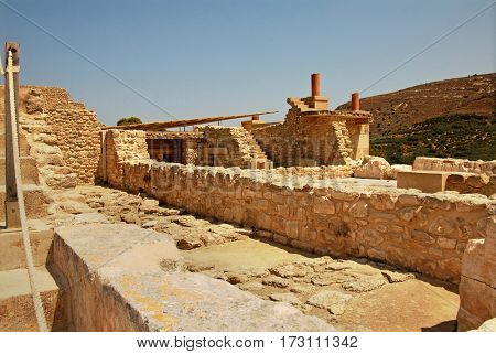 palace ruins which are found during excavation on the island of Crete