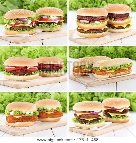 Hamburger Collection Set Cheeseburger Fresh Beef Tomatoes Lettuce Cheese