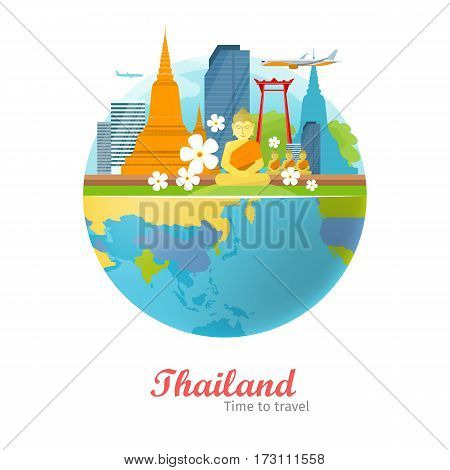Thailand tourism poster design with attractions on the background of the globe. Time to travel. Thailand landmark. Thailand travel poster design in flat. Travel composition with famous landmarks.