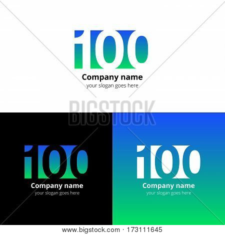 100 logo icon flat and vector design template. Monogram years numbers one and zero. Logotype one hundred with blue-green gradient color. Creative vision concept logo, elements, sign, symbol for card.