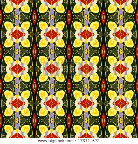 Ornamental decorative seamless pattern. Vector background texture. Green yellow and red colors.