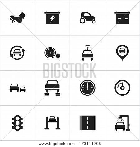 Set Of 16 Editable Car Icons. Includes Symbols Such As Speed Control, Tuning Auto, Treadle And More. Can Be Used For Web, Mobile, UI And Infographic Design.