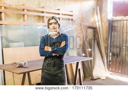 Attractive Woman Working As A Carpenter