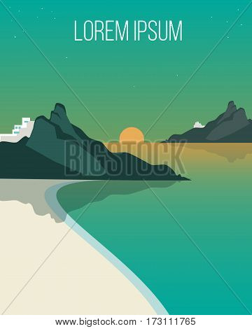 Flat evening coast landscape template with calm sea sand beach mountains scene at sunset vector illustration