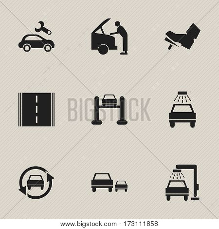 Set Of 9 Editable Car Icons. Includes Symbols Such As Highway, Race, Tuning Auto And More. Can Be Used For Web, Mobile, UI And Infographic Design.
