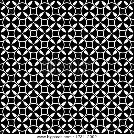 Vector monochrome seamless pattern. Simple black & white repeat geometric texture. Illustration of tapes, spools. Abstract dark endless background. Design element for decor, prints, textile, cloth
