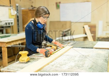 Beautiful Carpenter Working On A Project