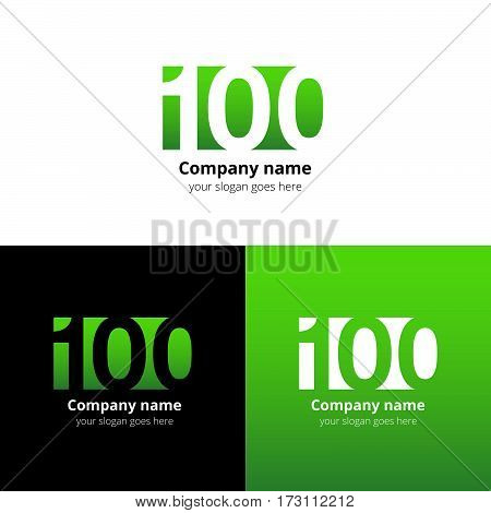 100 logo icon flat and vector design template. Monogram years numbers one and zero. Logotype one hundred with green gradient color. Creative vision concept logo, elements, sign, symbol for card.