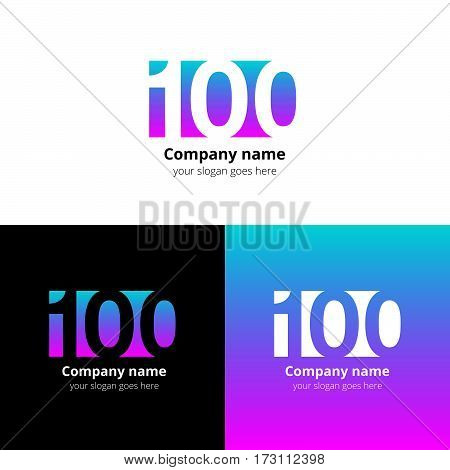 100 logo icon flat and vector design template. Monogram years numbers one and zero. Logotype one hundred with green-pink gradient color. Creative vision concept logo, elements, sign, symbol for card.