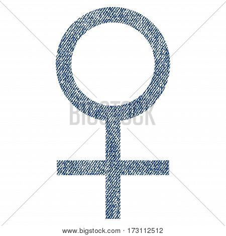 Venus Female Symbol vector textured icon for overlay watermark stamps. Blue jeans fabric vectorized texture. Symbol with dust design. Blue ink rubber seal stamp with fiber textile structure.