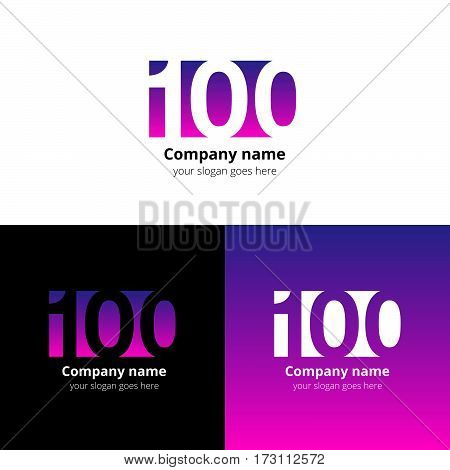 100 logo icon flat and vector design template. Monogram years numbers one and zero. Logotype one hundred with violet-purple gradient color. Creative vision concept logo, elements, sign, symbol.